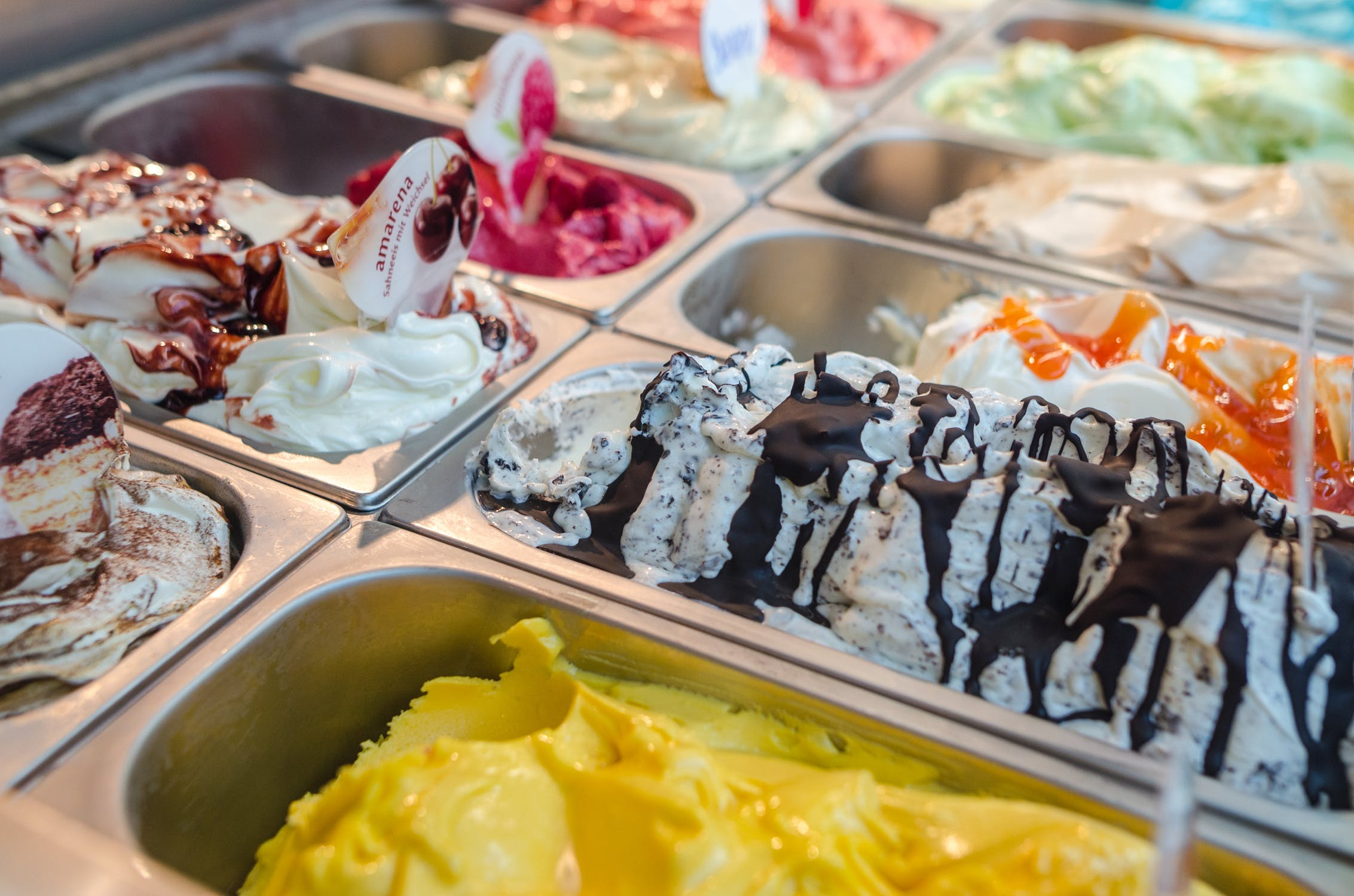 Delray beach Gelato Selection in display case