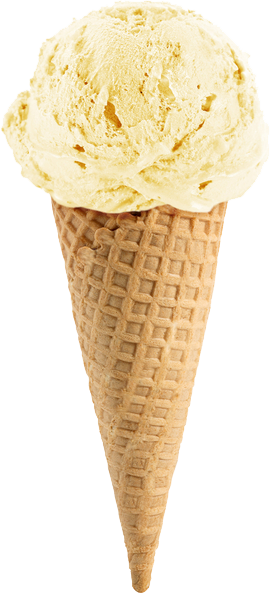 Vanilla ice cream in cone